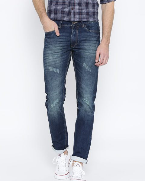 factory authentic a8c97 385c0 United Colors of Benetton Men Blue Slim Mid-Rise Low Distress Jeans